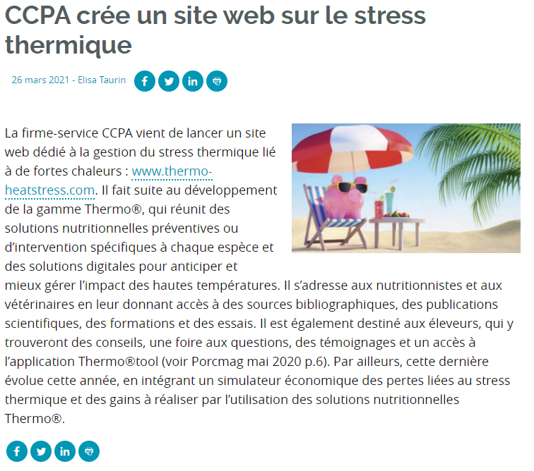 Article of Porc Mag about the new website of CCPA : thermo-heatstress.com