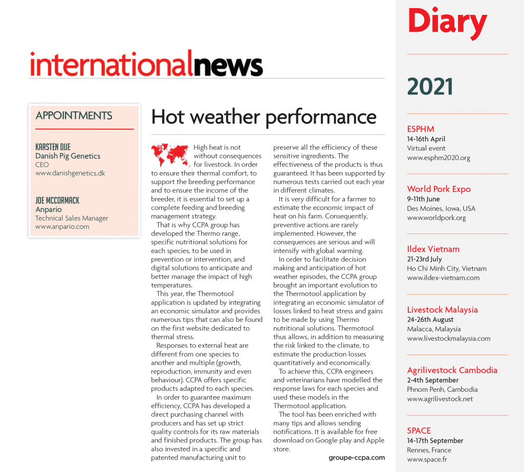 Press article for Thermo range CCPA Group